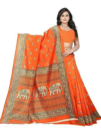 653f9b5b62 Amazon.com: Jaanvi fashion Art Silk Elephant Motifs Kalamkari Printed Saree  (Bright Green): Clothing