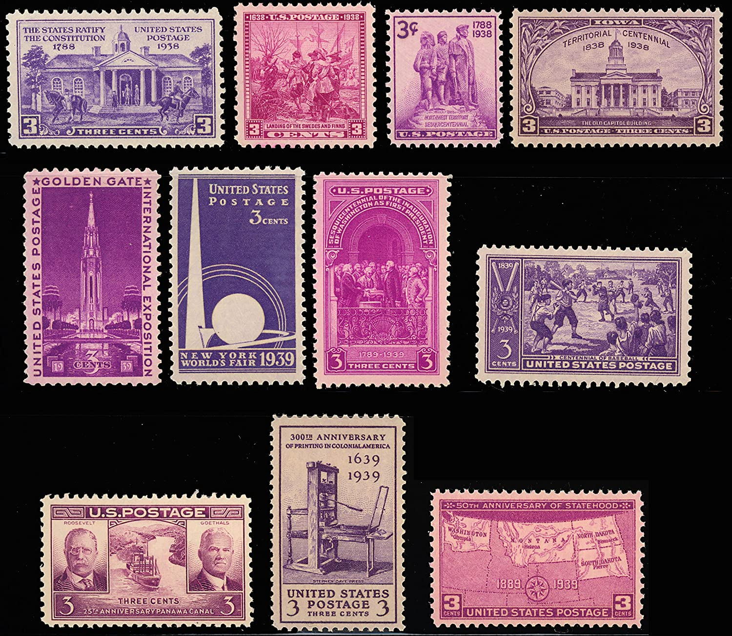 Amazon 1938 1939 Year Set Of Eleven Commemorative Stamps Mint NH By USPS Everything Else
