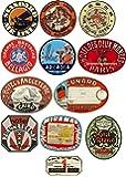 Thorpe Signs Lot de 12 stickers en vinyl pour bagages Motif voyage avec effet vintage de voyage