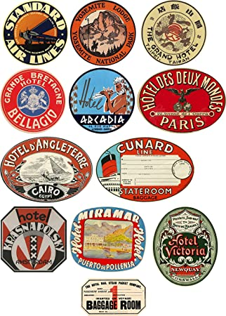Vintage Style Travel Suitcase Luggage Labels Set Of Vinyl - Vinyl stickers uk