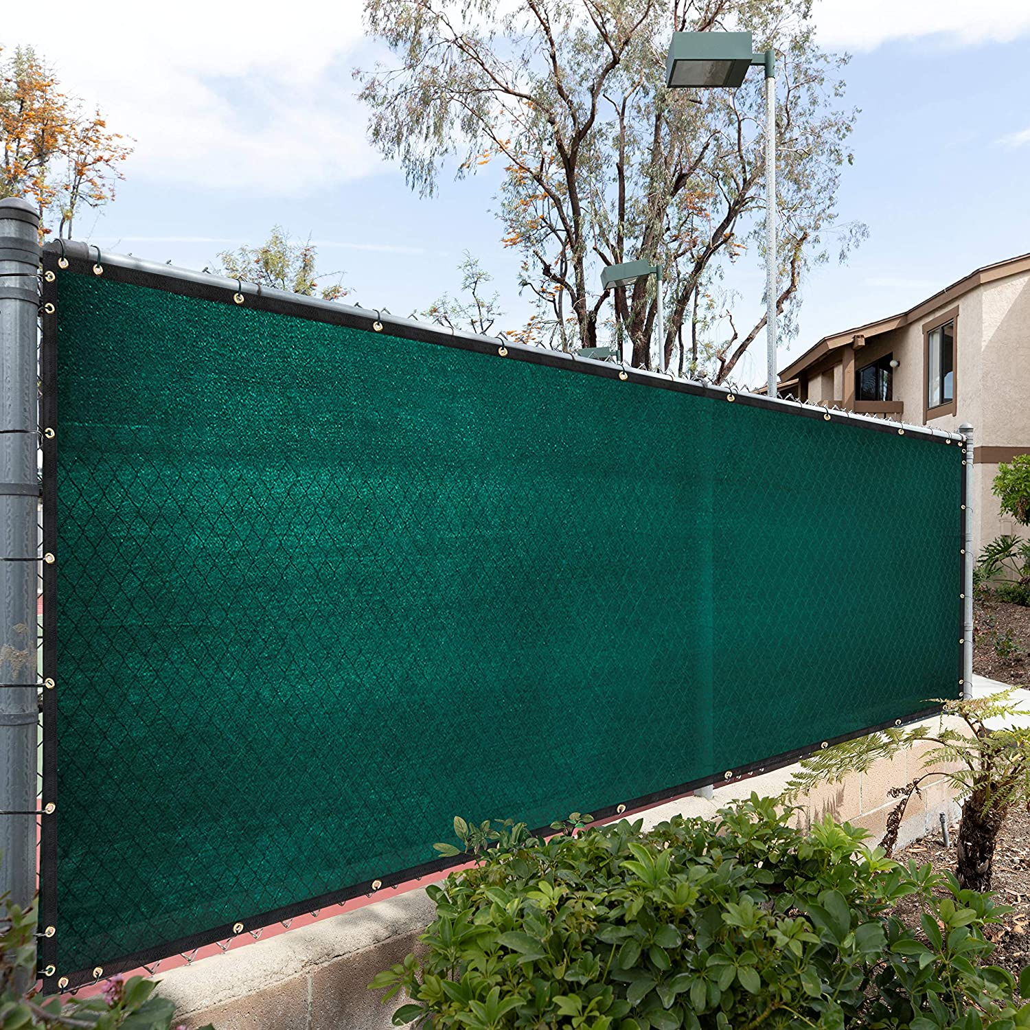 Royal Shade 6' x 25' Green Fence Privacy Screen Windscreen Cover Netting Mesh Fabric Cloth - Cable Zip Ties Included - WE Custom Make Size
