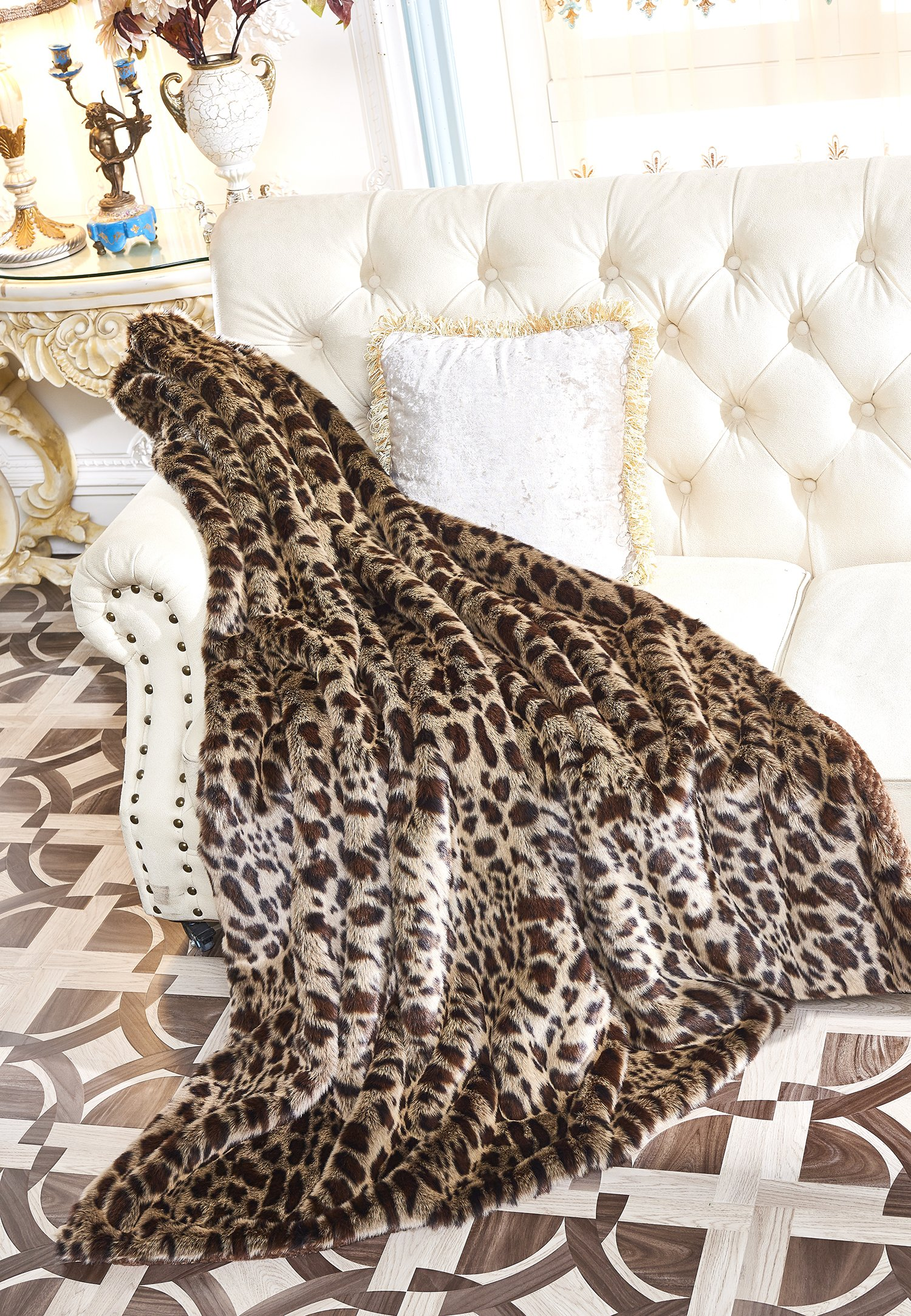Lindsey Home Fashion Faux Fur Throw, Fur Blankets Super Soft Japanese Kanekalon Fiber, Sheepskin, Mink, Wolf, Bear, 60''x80'', 60''x70'', 50''x60'' 14 Colors (60x70(INCH), Dark Leopard) by Lindsey Home Fashion (Image #2)