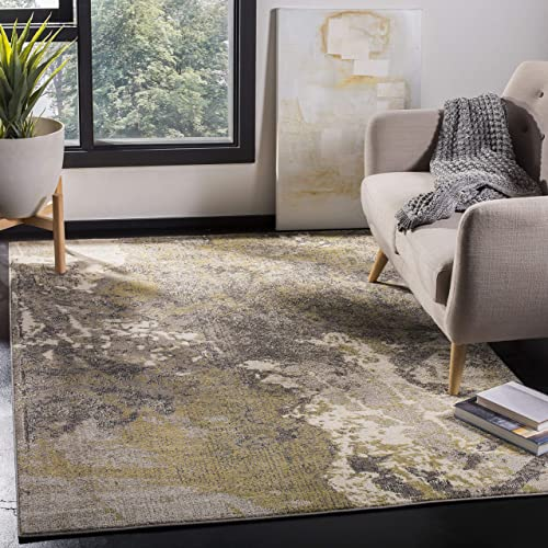 Safavieh Monaco Collection MNC219S Modern Abstract Vintage Ivory and Grey Distressed Area Rug 9' x 12'