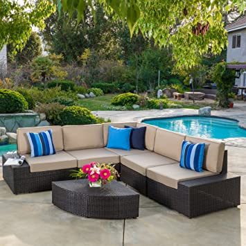 Reddington Outdoor Patio Furniture 6 Piece Sectional Sofa Set with Cushions. Amazon com   Reddington Outdoor Patio Furniture 6 Piece Sectional