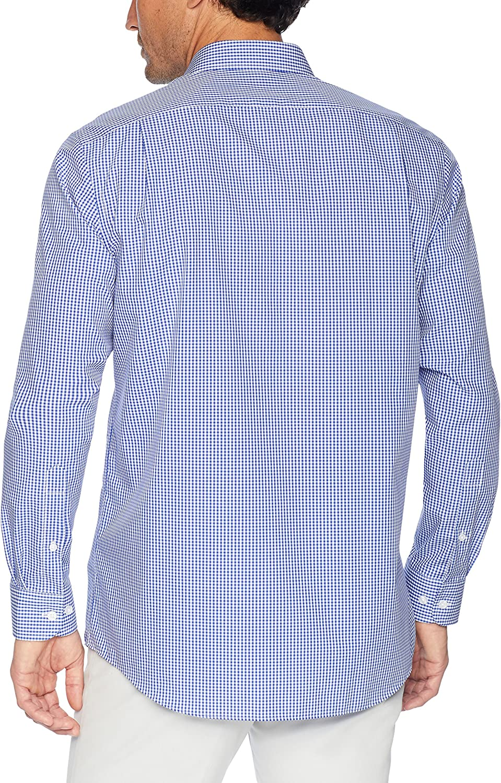 Essentials Men's Regular-Fit Wrinkle-Resistant Long-Sleeve Plaid Dress Shirt: Clothing
