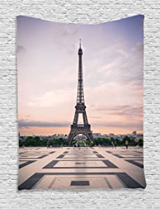 Ambesonne Paris Tapestry, Trocadero and Eiffel Tower at Sunshine Paris Skyline Historic Landscape View, Wall Hanging for Bedroom Living Room Dorm, 60