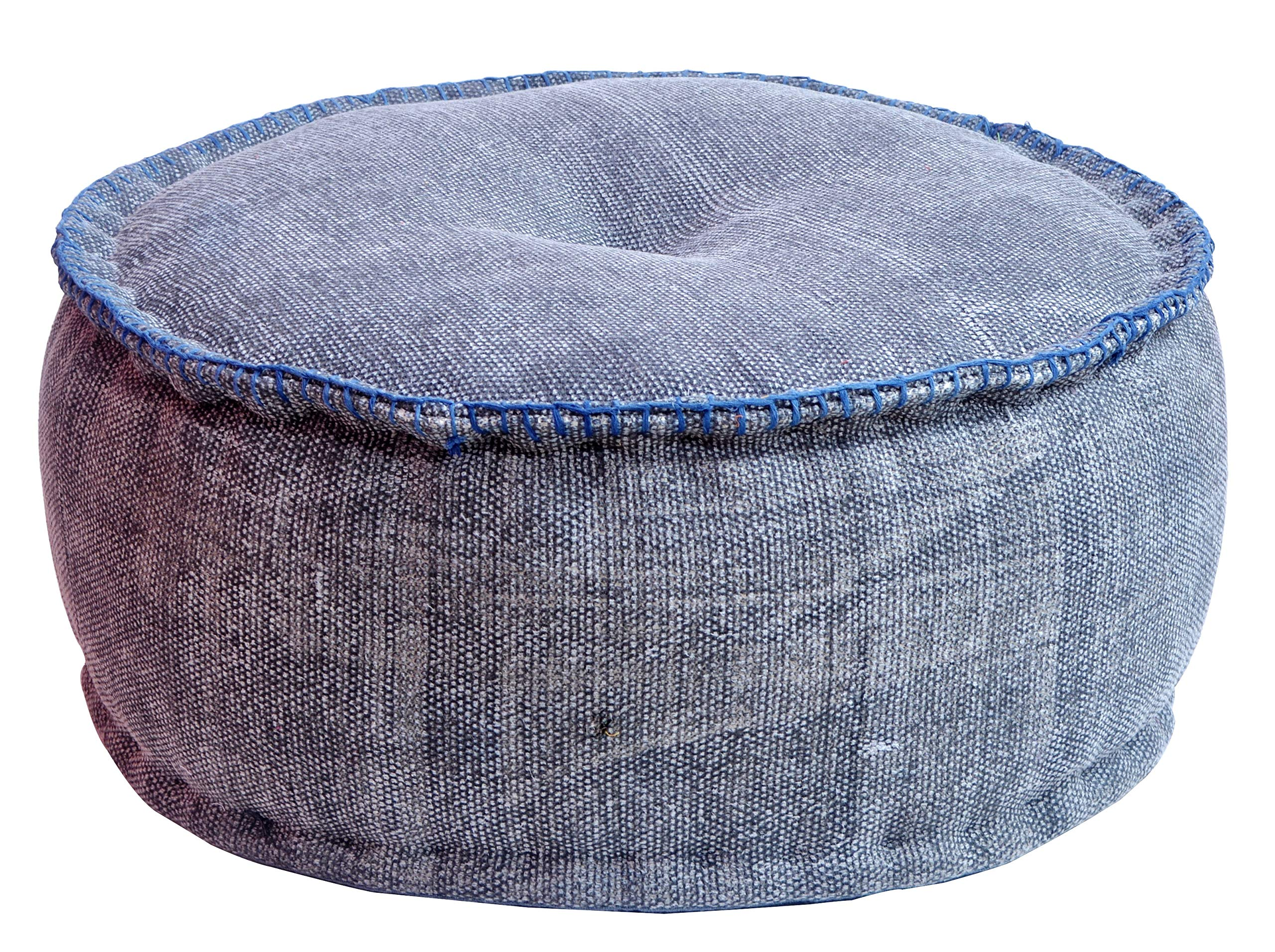MARUDHARA Kilim Cotton Stuffed Pouf 22''X10'', Round POUFFE, Dhurrie Pouf, Ottoman Extra Sitting, Foot Stool by MARUDHARA