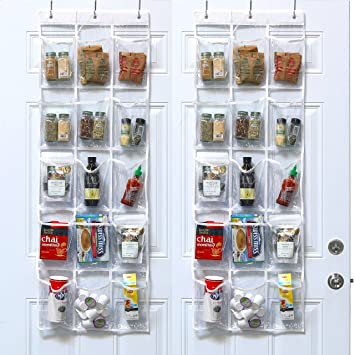 2 Pack   SimpleHouseware Crystal Clear Over The Door Hanging Pantry  Organizer (52u0026quot; ...