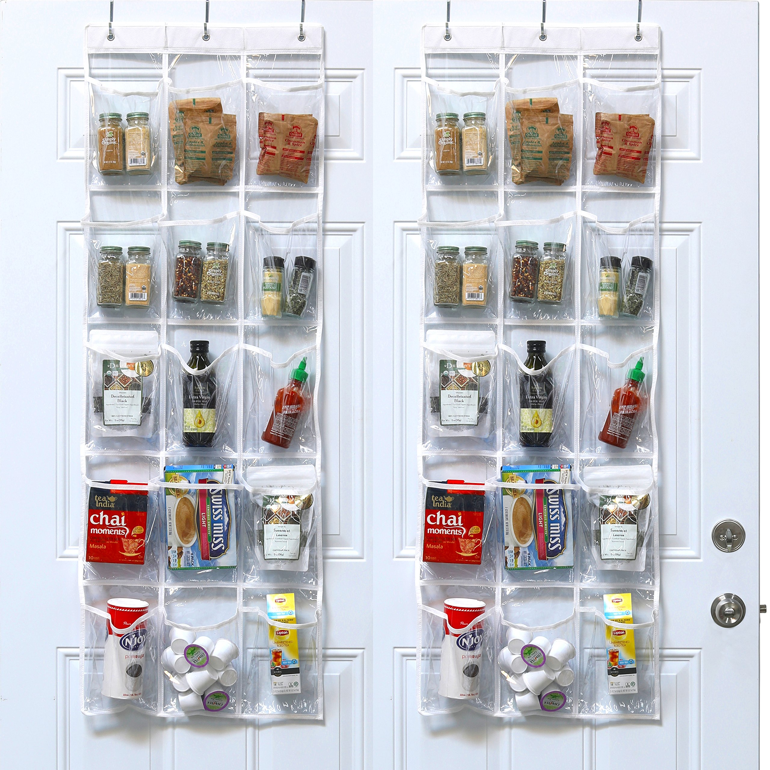 2 pack simplehouseware crystal clear over the door hanging pantry organizer 52 x 18