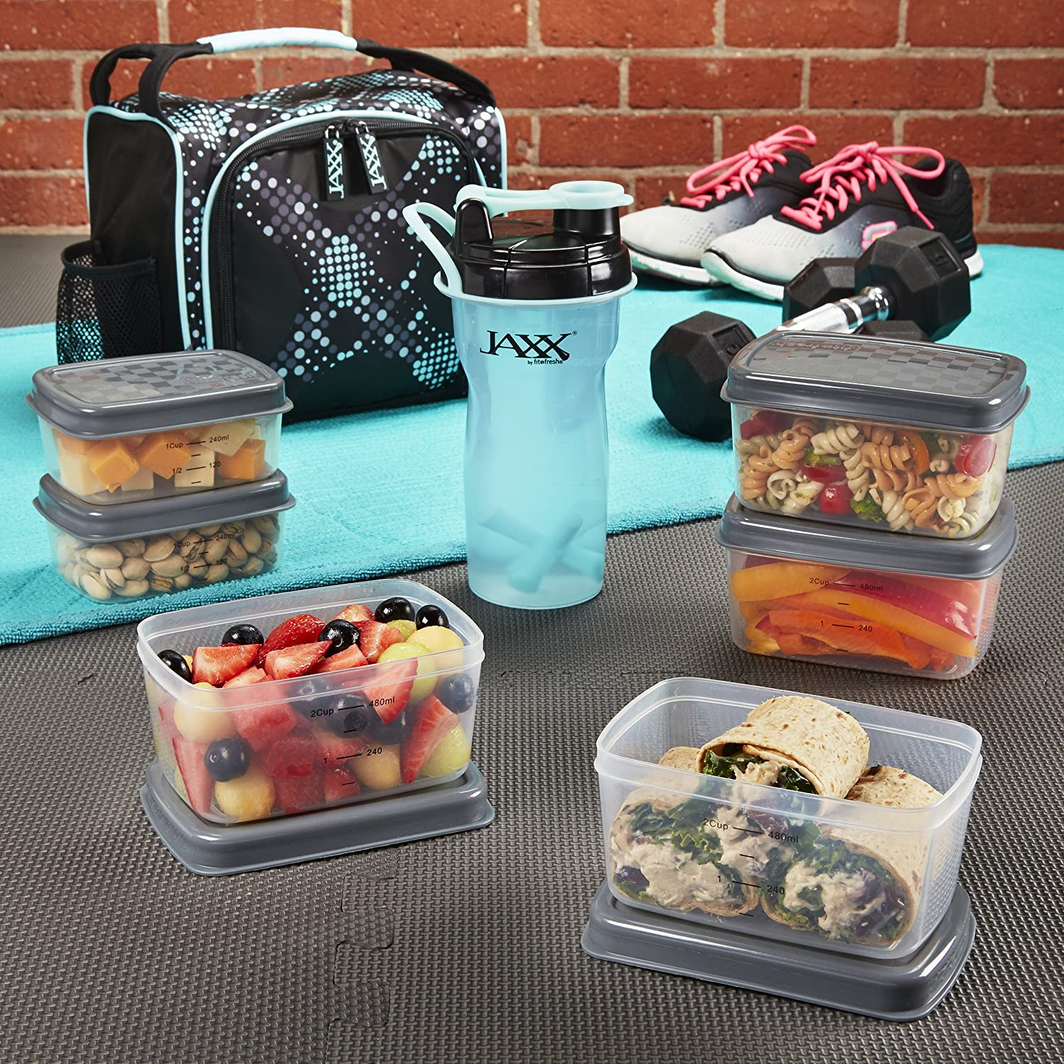 Fit & Fresh Jaxx FitPak Meal Prep Bag with Leakproof Portion Control Container Set and Shaker Cup, Pack Healthy Meals All Day, Aqua Dot