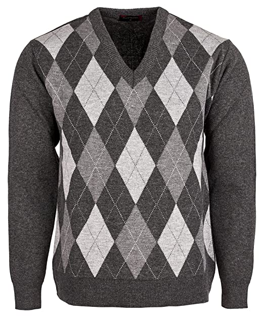 Mens Diamond Pattern Knitted Cardigan V Neck Button Closure Long Sleeves