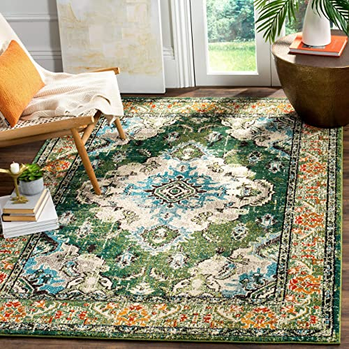 Safavieh Monaco Collection MNC243F Boho Chic Medallion Distressed Area Rug, 11 x 15 , Forest Green Light Blue