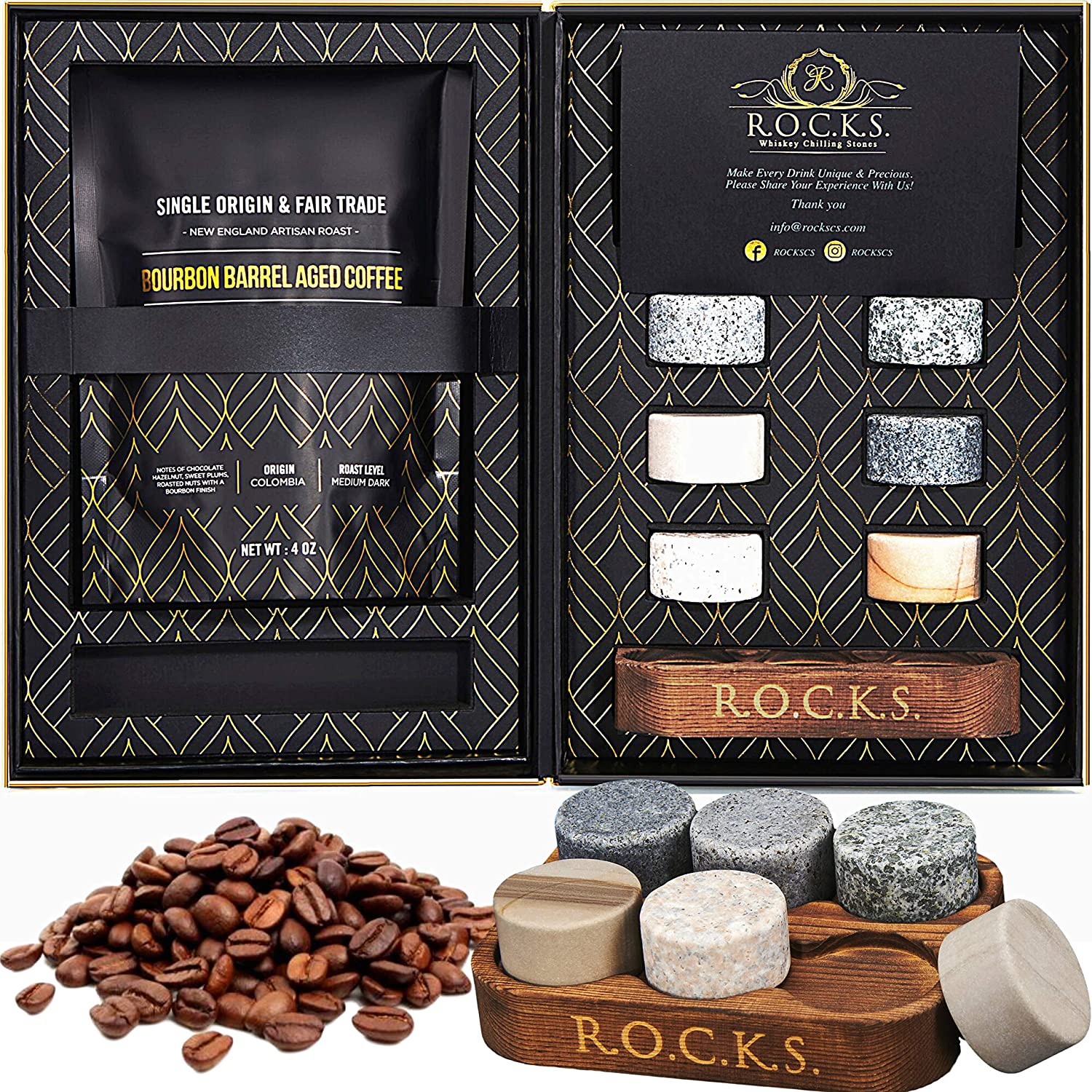 Whiskey Chilling Stones & Kentucky Bourbon Barrel Aged Coffee Gift Set - 6 Handcrafted Premium Granite Round Rocks & Hardwood Storage Tray - A Gourmet Tasting Discovery for Whiskey & Coffee Lovers!