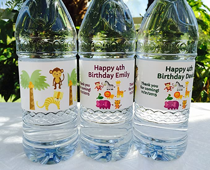 Swan Water Bottle Labels Waterproof Peel and Stick labels for Kids Party Favors Personalized and Printed