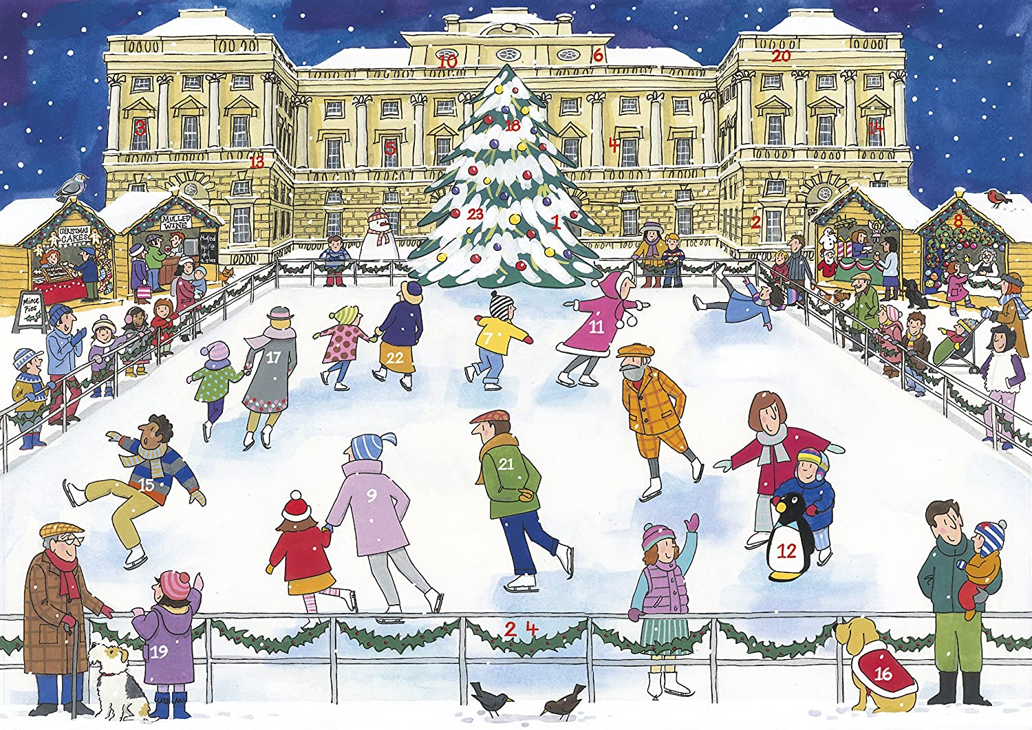 Alison Gardiner 'Christmas Ice Skating' Large Traditional Advent Calendar Alison Gardiner Designs Ltd AC7
