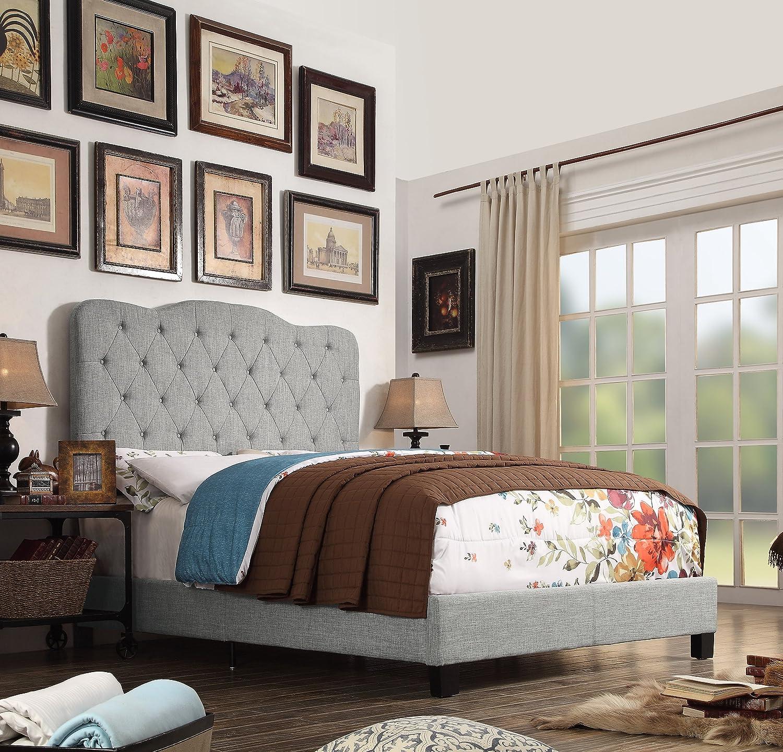 Millbury Home Elian Linen Upholstery Platform Bed, Grey, Queen