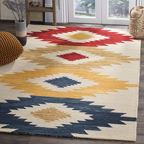 Safavieh Aspen Collection APN704A Ivory and Multi Premium Wool Area Rug 4' x 6'
