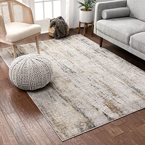 Well Woven Lada Beige Blue Vintage Distressed Area Rug 5×7 5 3 x 7 3