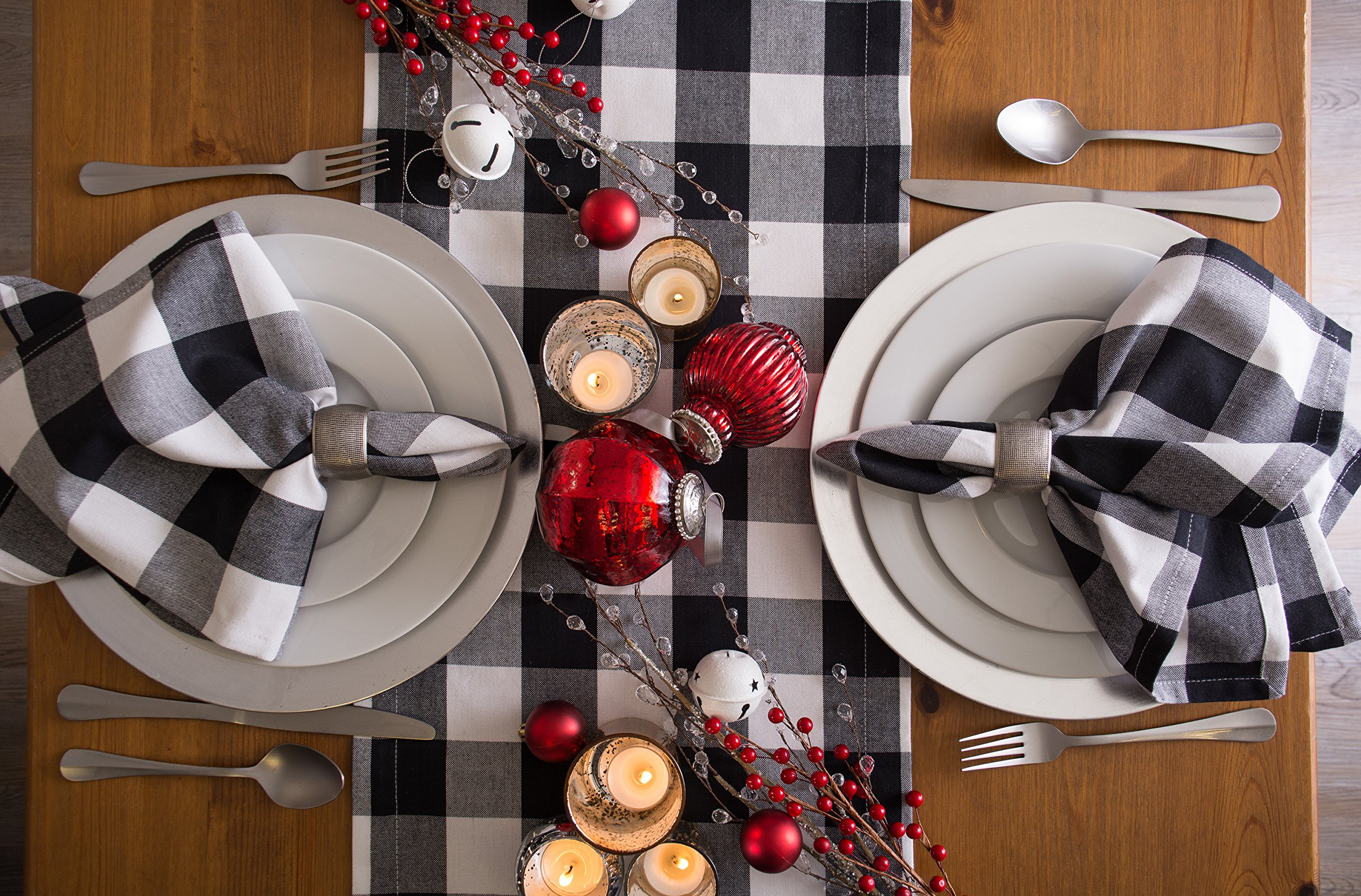 DII Cotton Buffalo Check Table Runner for Family Dinners or Gatherings, Indoor or Outdoor Parties, & Everyday Use (14x108'',  Seats 8-10 People), Black & White by DII (Image #6)
