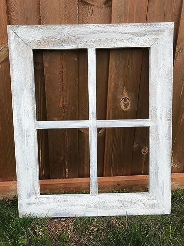 Amazon.com: Rustic Window Frame - 4 Pane Wide Frame Vintage ...