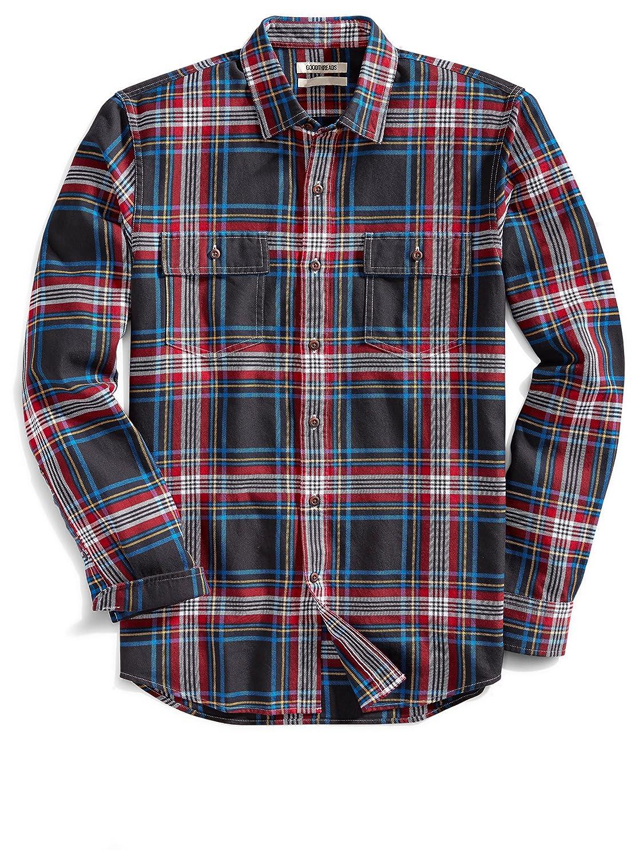 54a29c5a4e4 Amazon.com  Goodthreads Men s Slim-Fit Long-Sleeve Plaid Twill Shirt ...