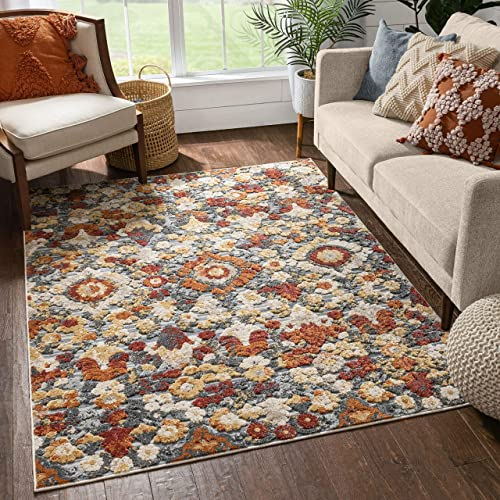 Well Woven Berger Rust Red Multi Ikat Flat-Weave Hi-Low Pile Area Rug 8×10 7'10″ x 9'10″