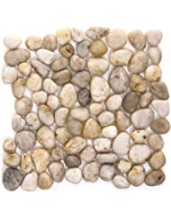 "Emser Tile ""Rivera"" Mesh Pebble Tile, 12"" x 12"", Cream"