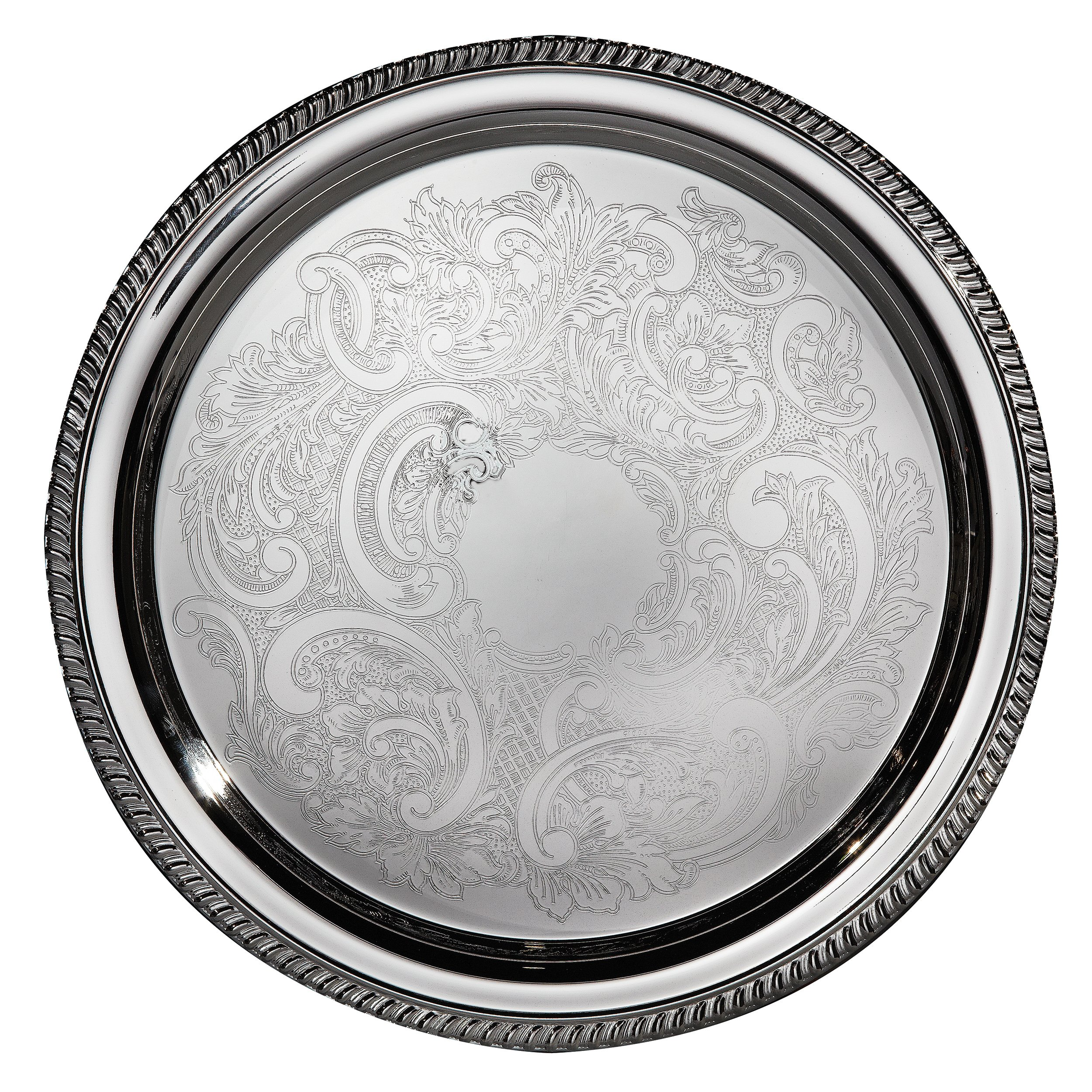 Elegance Silver 8235 Hotel Collection Round Silver Plated Tray, 16''