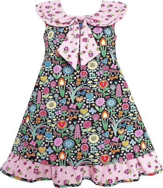 Vestido para niña Corbata de moño Rosa Floral Rechazar Collar Y ...