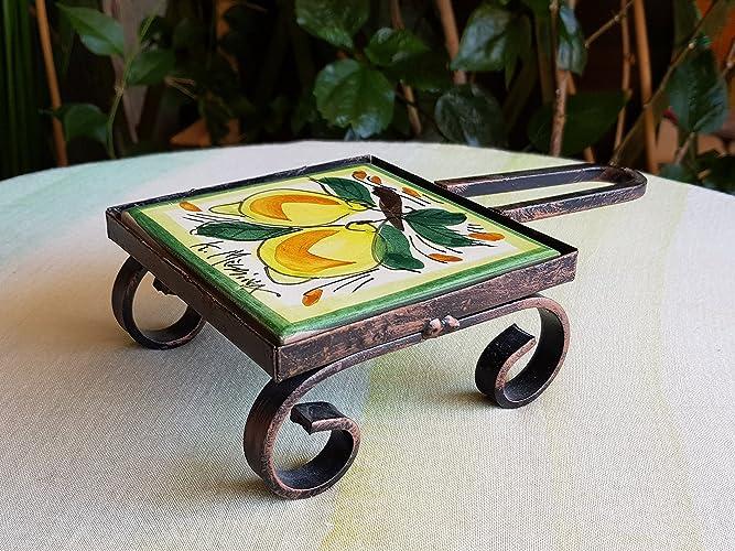 Sottopentola di ceramica siciliana. poggia pentola con cornice in
