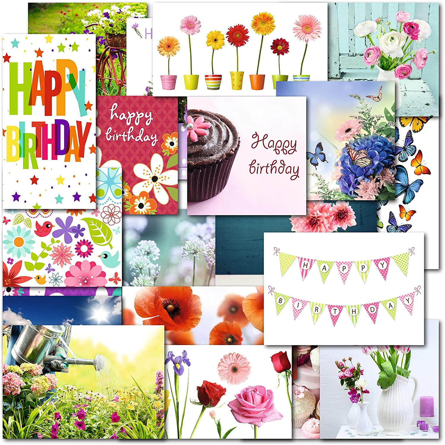 Pack of 20 mixed female ladies birthday blank premium greeting pack of 20 mixed female ladies birthday blank premium greeting cards amazon office products kristyandbryce Image collections