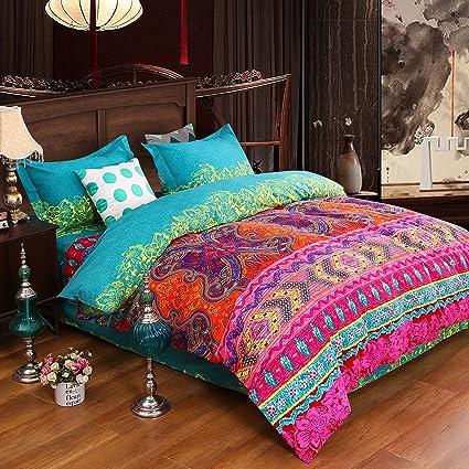 Unimall Paure de lit 4/3 Pcs Style Boho/Indien
