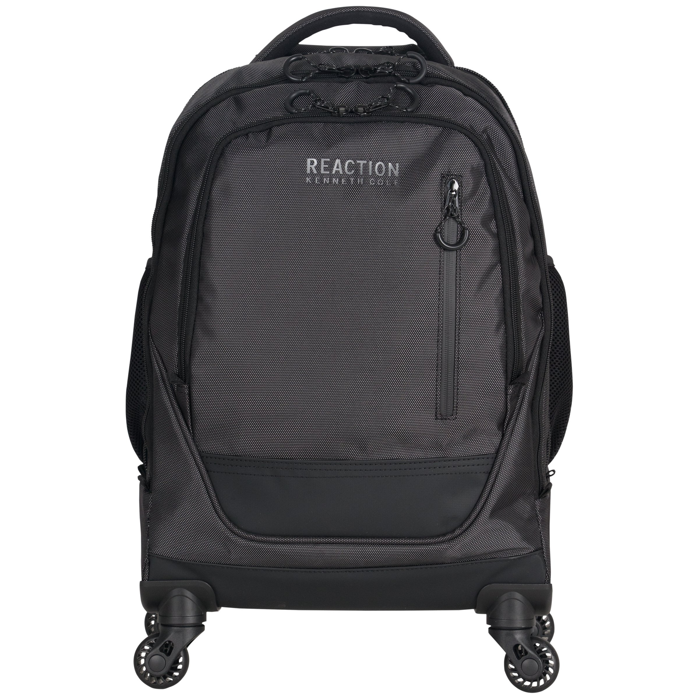 "Kenneth Cole Reaction 1680d Coated Polyester Double Gusset 4-Wheel 17.0"" Computer Laptop Backpack, Pin Dot Charcoal, One Size"