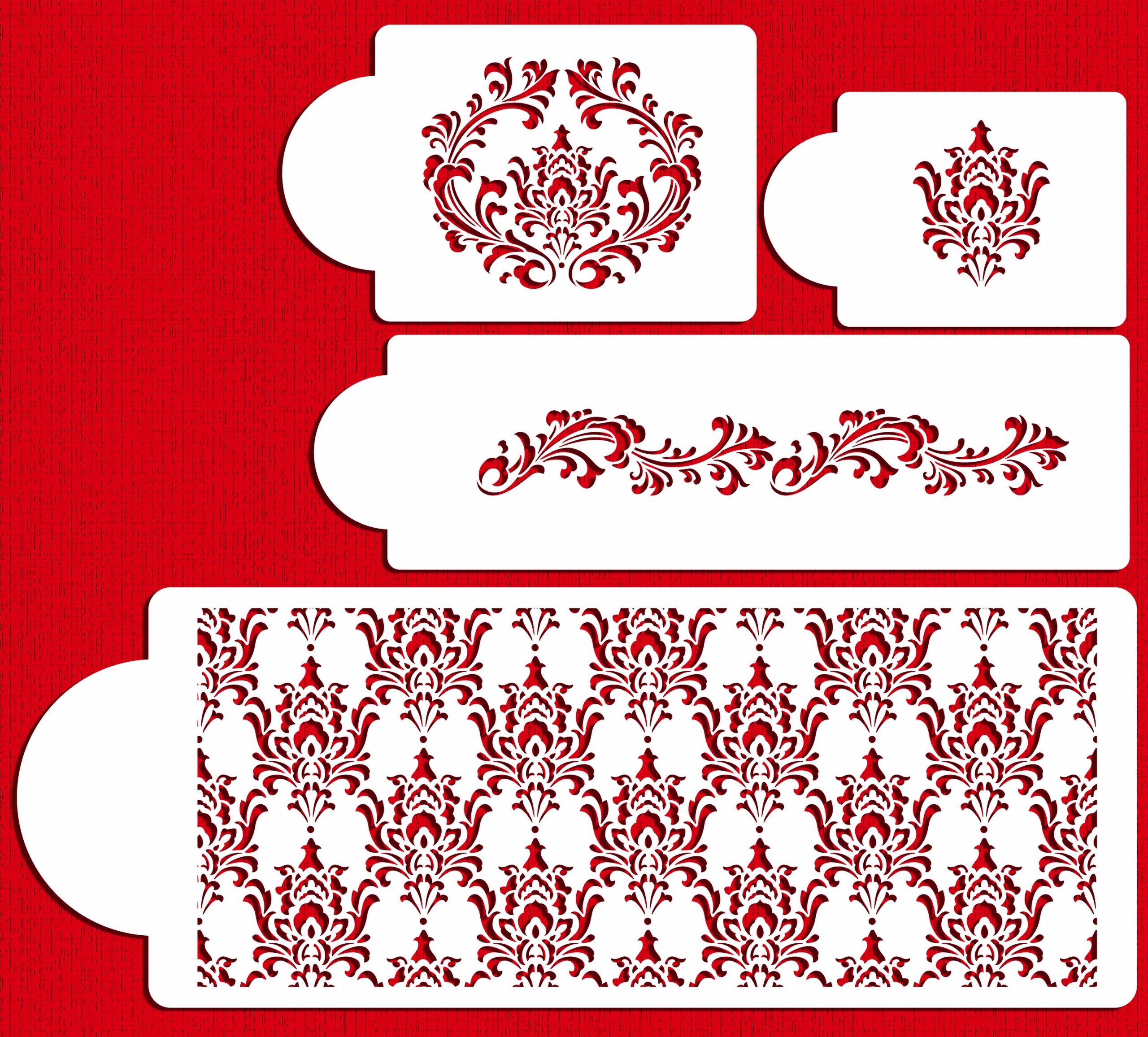 Designer Stencils C550 Filigree Damask Cake Stencil Set, Beige/semi-transparent