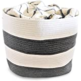 "OrganizerLogic Storage Baskets - Large 15""x 15""x 13"" Gray and Beige, Cotton Rope Storage Bins for Organizing Toys, Baby, Kids, Laundry Bin- Natural Woven Basket (Gray, Beige)"