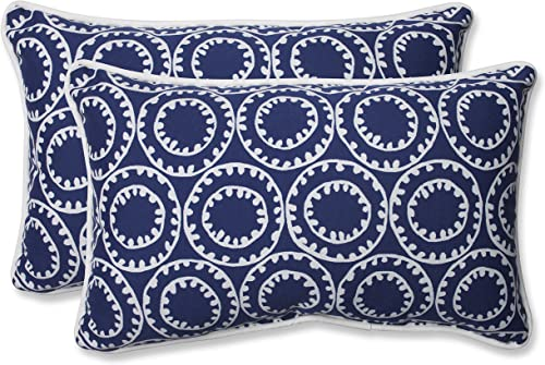 Pillow Perfect 568287 Outdoor/Indoor Ring a Bell Navy Lumbar Pillow