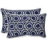 Pillow Perfect Outdoor Ring a Bell Rectangular Throw Pillow, Navy, Set of 2