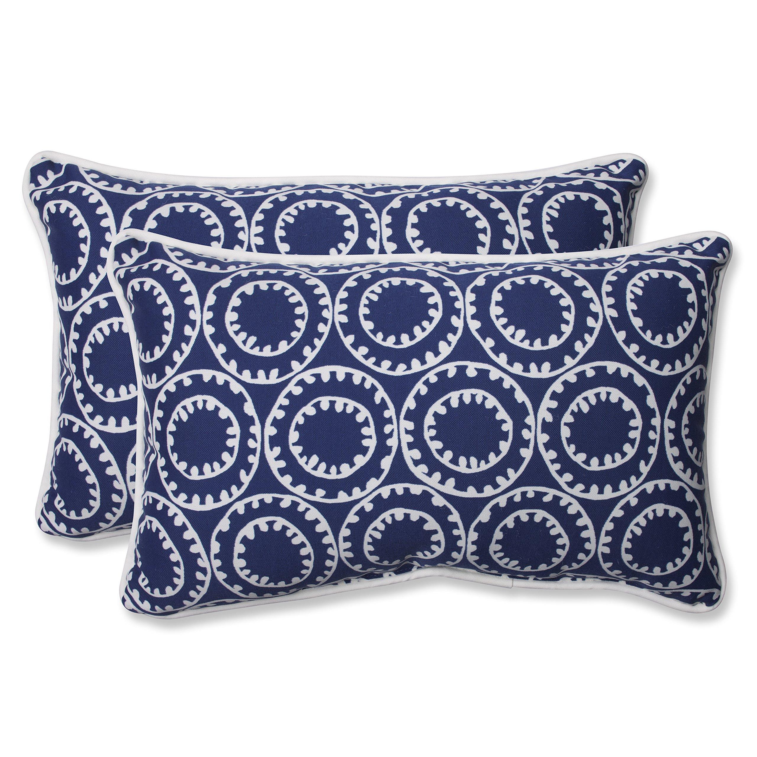 Pillow Perfect 568287 Outdoor Ring a Bell Rectangular Throw Pillow, Set of 2, 18.5'' x 5'' x 11.5'' Blue