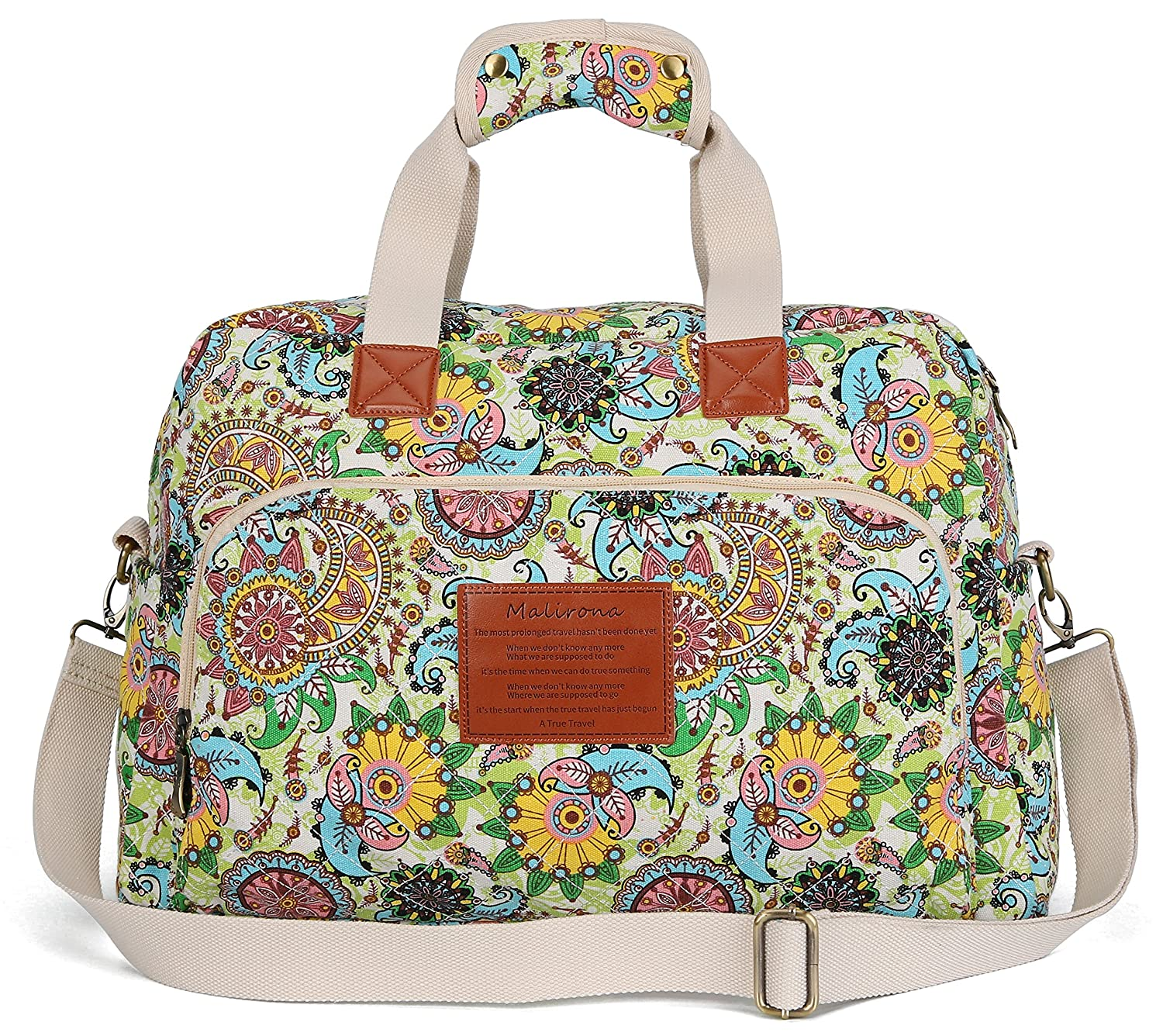 Malirona Canvas Overnight Bag Women Weekender Bag Carry On Travel Duffel Bag Floral Design (Flower) KJ014-Flower