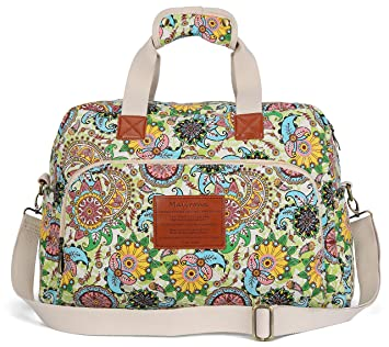 Malirona Canvas Overnight Bag Women Weekender Bag Carry On Travel Duffel  Bag Floral Design (Flower) 6a8b258785edb