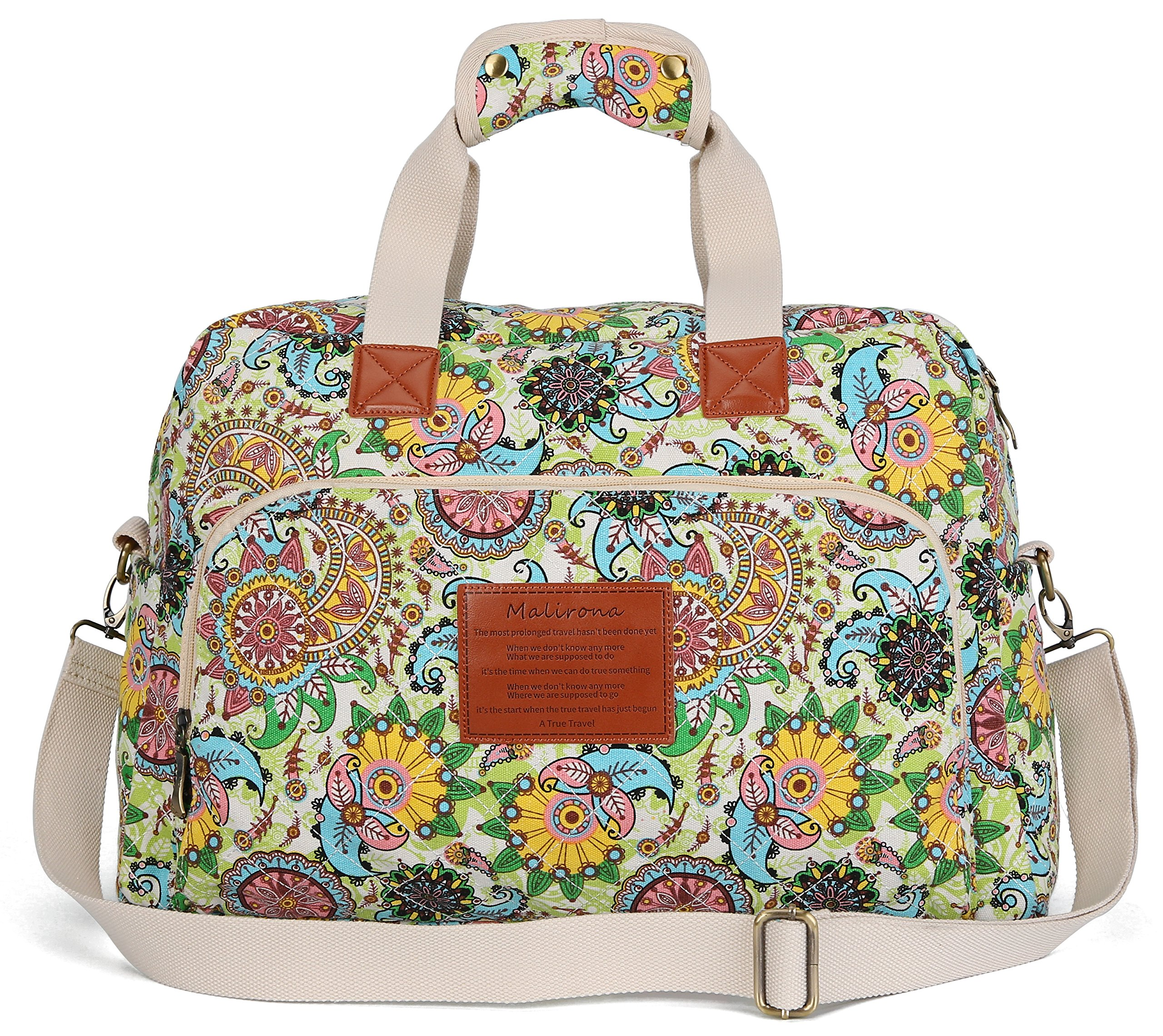 Malirona Canvas Overnight Bag Women Weekender Bag Carry On Travel Duffel Bag Floral Design (Flower)