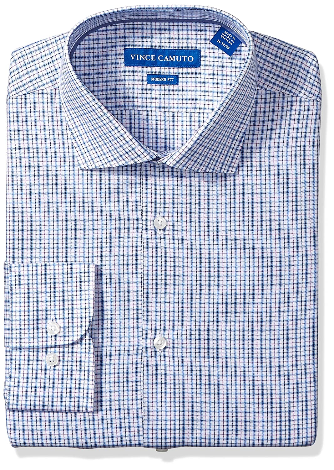 Vince Camuto Mens Modern Fit Multi Color Check Dress Shirt