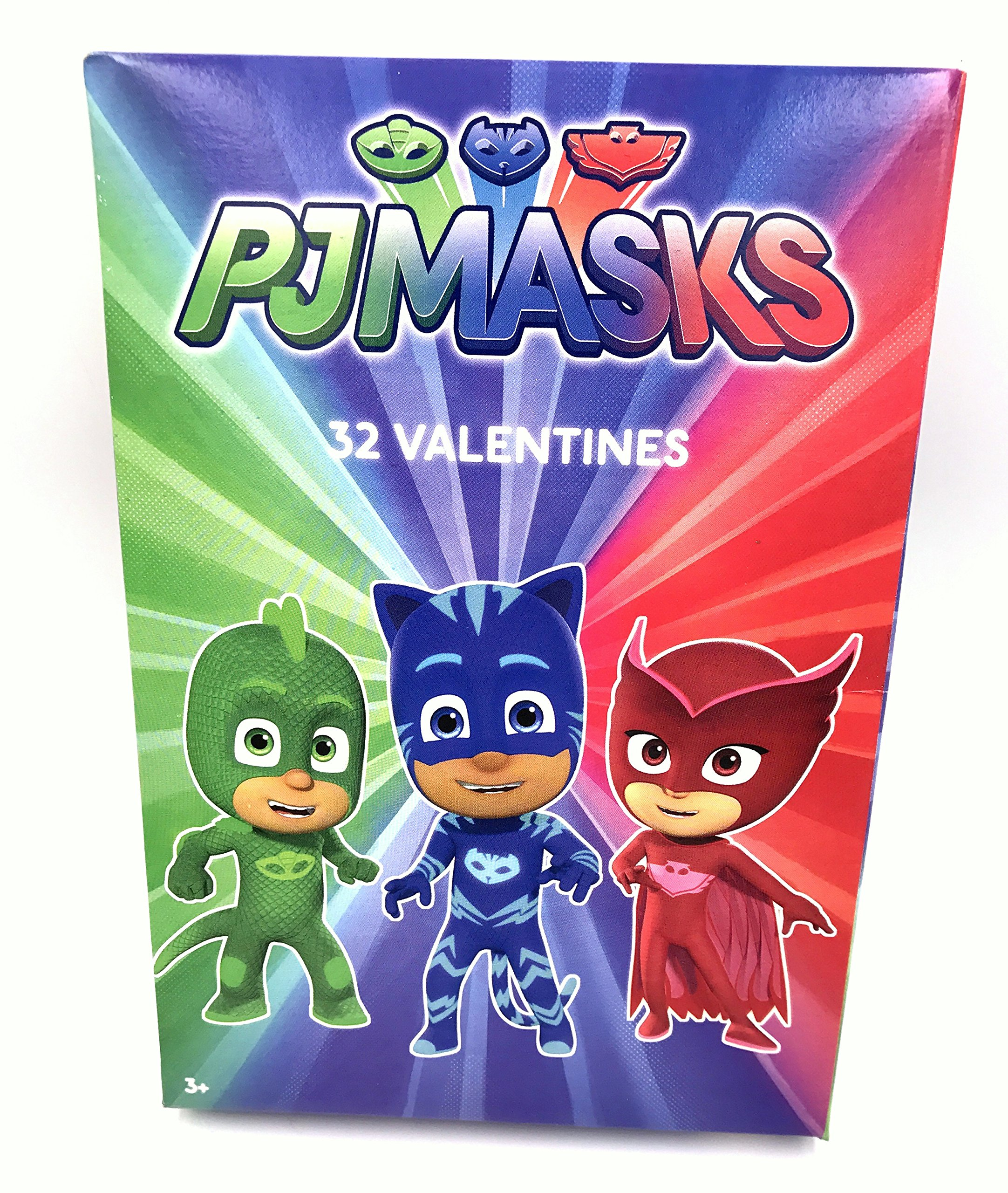 Valentines Day Cards Box of 32 PJ Masks for Kids School Exchange Party