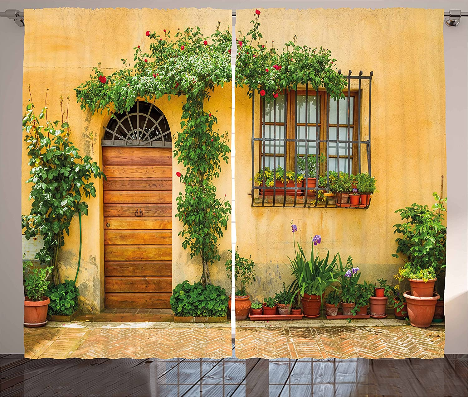 Ambesonne Italy Curtains, Porch with Different Flowers Pots Fresh Green Plants City Life in Tuscany, Living Room Bedroom Window Drapes 2 Panel Set, 108