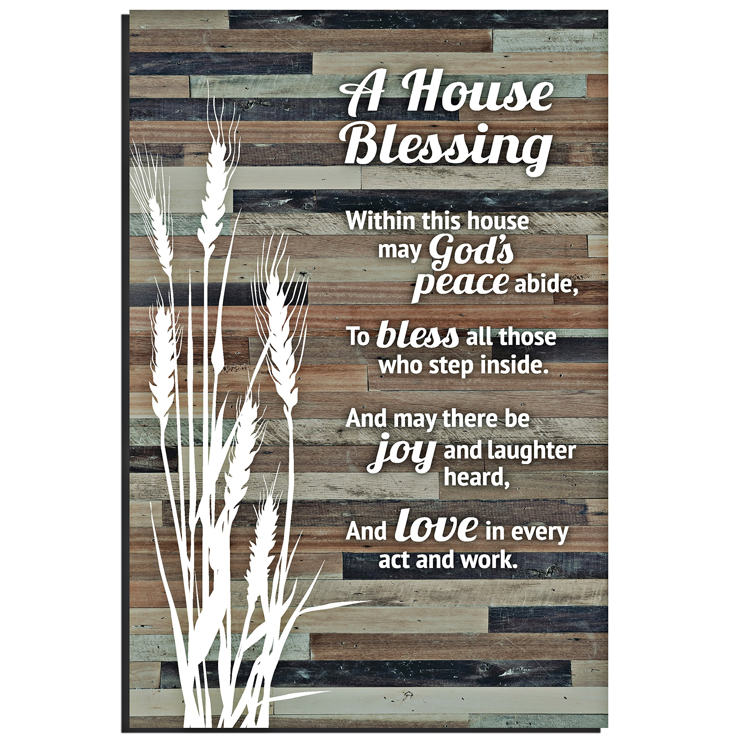 House Blessing Rustic Wood Plaque – Easel & Hanging Hook 6×9 Inch – Vertical Plaques Wall Art & Tabletop Decoration for Your Home or Office   A House Blessing within this house may Gods Peace abide…