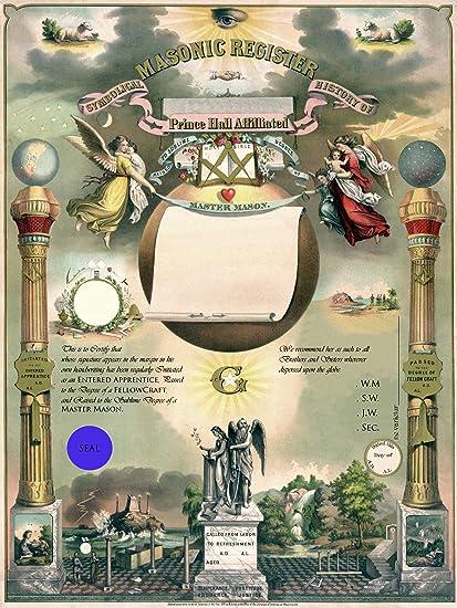 Personalized Prince Hall Master Mason Masonic Certificate PHA Art Print