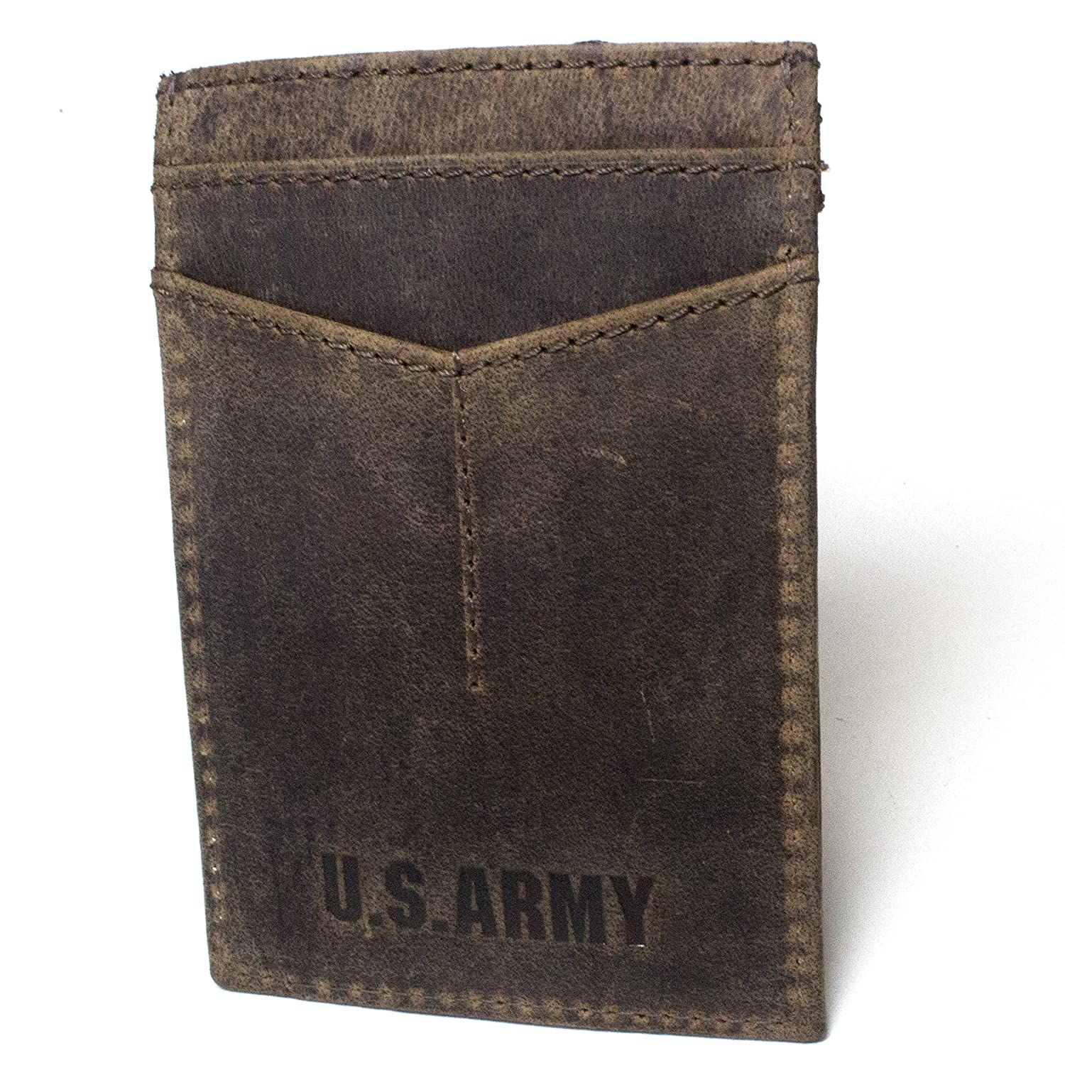 RFID Blocking Mens Wallet Leather Money Clip Thin Slim Front Pocket US Army