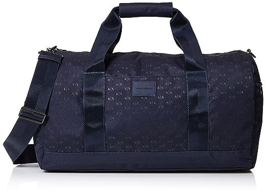 ebd99a7a4e54 Armani Exchange Men's Light Weight Dobby Nylon All Over Logo Duffle  Weekender Bag