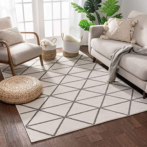 Well Woven Menage Geometric Ivory Modern Triangle Tiles Shapes Lines Accent Area Rug 4×5 3'11″ x 5'3″ Carpet