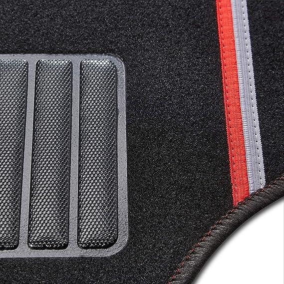 Cartrend 10607 Universal Textilmatte Rally 4 Teilig Teppich Matten Stoffmatten Autoteppiche Fussmatten Auto Mit Roten Dekorstreifen Auto